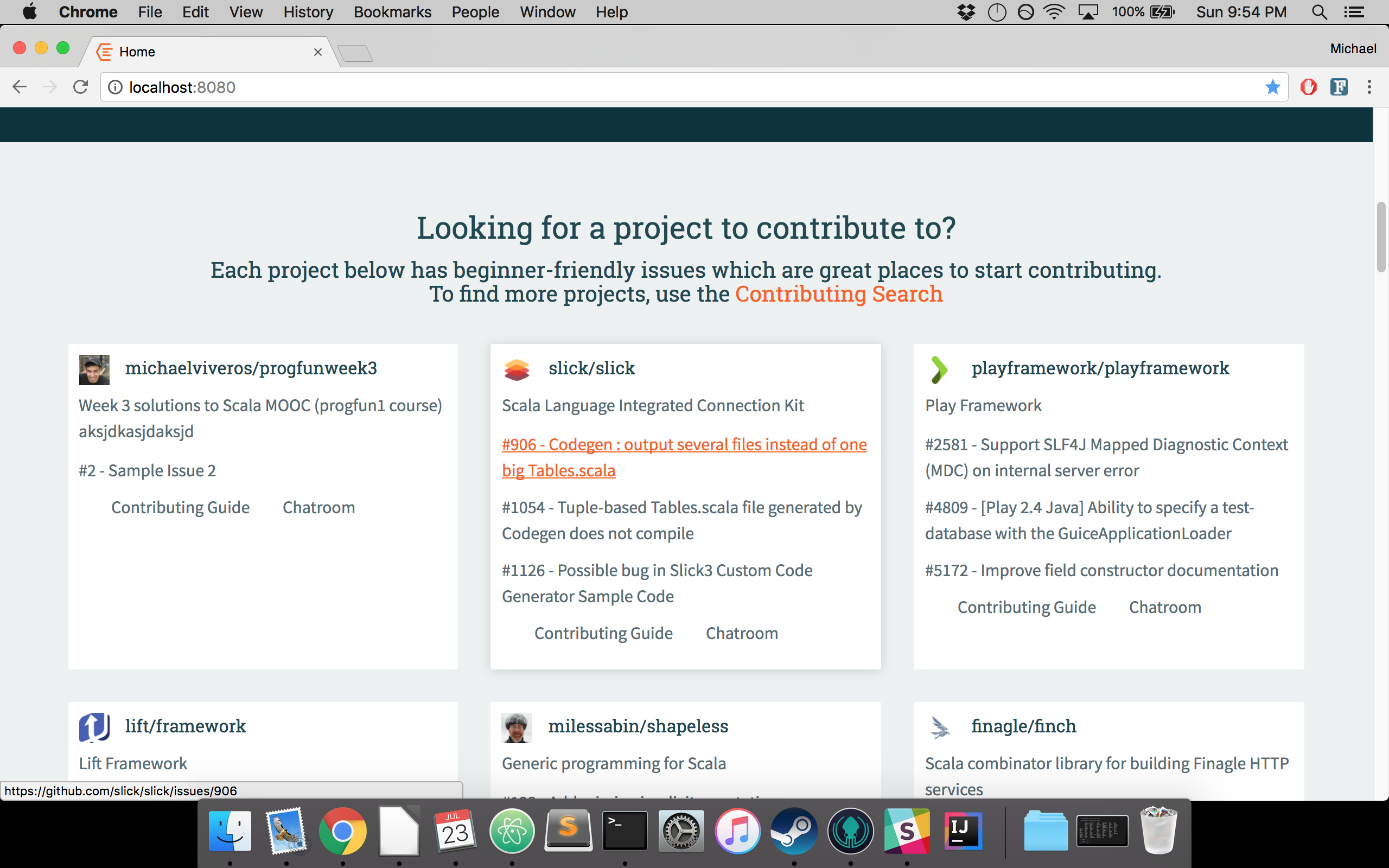 project front page sample